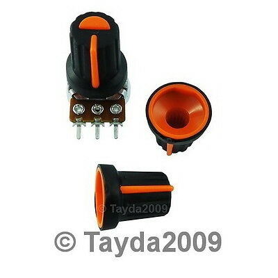 2 x Black Knob with Orange Pointer - Soft Touch - High Quality - Free Shipping