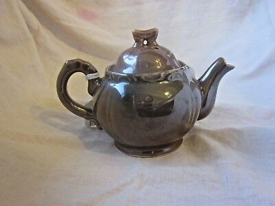 ANTIQUE  ONE CUP TEAPOT WITH COVER LT. BROWN toy teapot made in Japan pottery