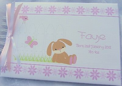 Personalised Baby/1St Birthday/easter/ Bunny Guest Book /photo Album/ Scrapbook
