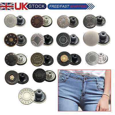 8 x 17mm Jeans Studs Buttons in Gun Metal with Pins Hammer on Type Tack Denim