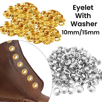100pcs Gold Silver Metal Round Eyelets Grommet Leathercraft Clothing 10mm - 15mm