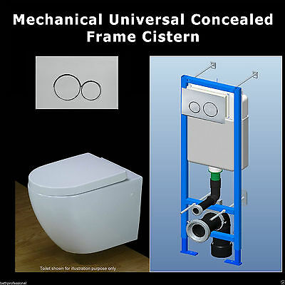 Cistern Concealed Toilet WC Wall Hung Universal Frame Chrome Push Button F1 KL