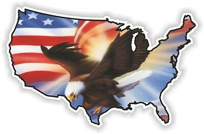 USA EAGLE STICKER America UNITED STATES MAP FLAG BUMPER VINYL DECAL PATRIOT n14