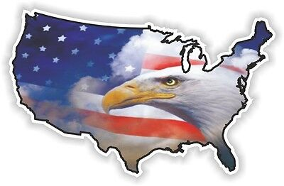 USA EAGLE STICKER America UNITED STATES MAP FLAG BUMPER VINYL DECAL PATRIOT n22