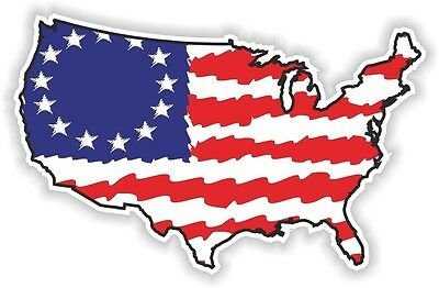 USA FLAG STICKER America UNITED STATES MAP FLAG BUMPER VINYL DECAL PATRIOT br01