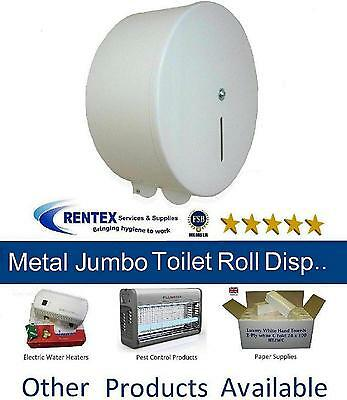 Jumbo Toilet Roll Holder White Metal Lockable Wall Mounted Steel Paper Dispenser