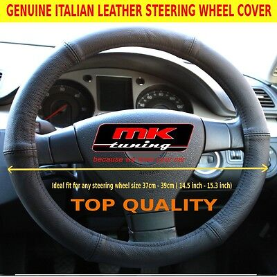 GENUINE LEATHER BLACK CAR STEERING WHEEL COVER SIZE 37-39cm 14.5-15.3 inch
