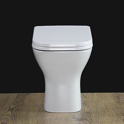 Toilet WC Bathroom Back To Wall  Compact Square Heavy Duty Soft Seat Cover B18-2