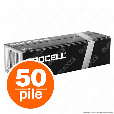 50 BATTERIE DURACELL INDUSTRIAL ALCALINE PROCELL TRANSISTOR 9v