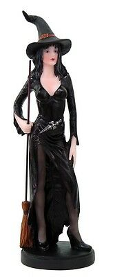 WITCH ROSINA BLACK GOWN WITH BROOMSTICK STATUE