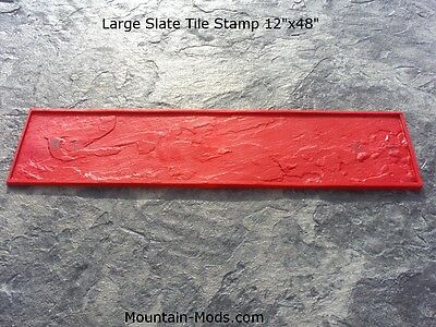"New Large Slate Tile 12""x48"" Rigid Texture Decorative Concrete Cement Stamp Mat"