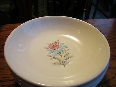 3 Steubenville Fairlane sauce bowls pink & blue flowers & gray leaves
