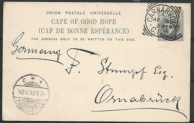 Cape of Good Hope covers 1901 PC Carnarvon to Osnabrück