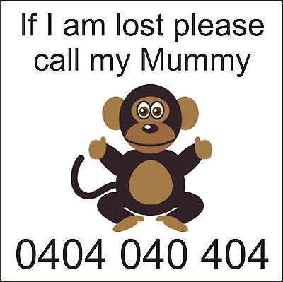 35 Custom Printed Temporary childrens tattoos If lost call MUMMY - Clever Monkey