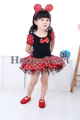 NWT Disney Minnie Mouse Costume Party Tutu Dresses Dance Ballet Leotard 2-7T #G1