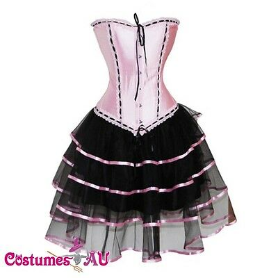 Ladies Burlesque satin Corset G String Skirt Bustier Dress Costume