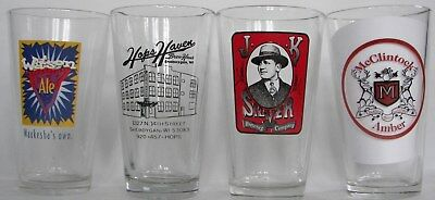 Wisconsin closed beer, brewery pint glasses, set of 12