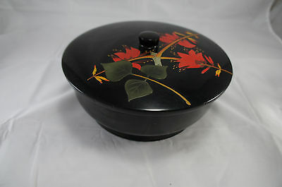 Vintage Japanese Okinawa Bembo Lacquer Ware Bowl Box Jar with Floral Lid Signed
