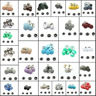 10 Set of 15mm Press Studs Heavy Duty 4 Parts Snap Fasteners Rivets Buttons
