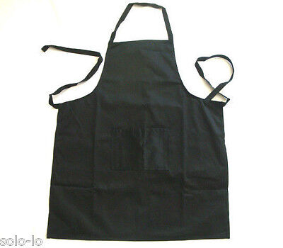 New Kitchen Apron 100% Cotton Washable Black Cooking Chef Cafe w Front Pocket