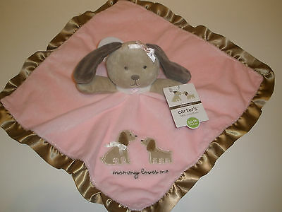 NWT Carters Girls Mommy Loves Me Pink Puppy Dog Security Blanket Rattle Baby Toy