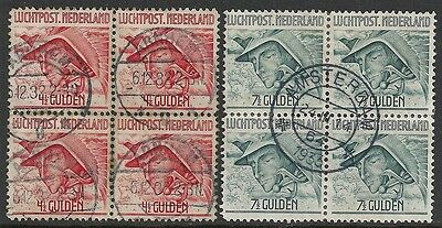 Netherlands stamps 1929 NVPH Airmail 7+8 in Bloc of 4  CANC  VF