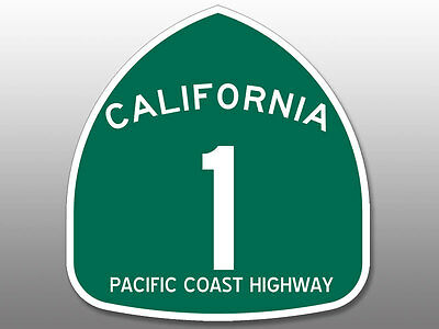 4x4 inch Green PCH Pacific Coast Highway 1 Sign Shaped Sticker -route california