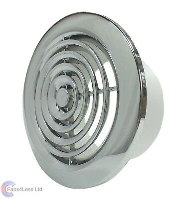 "Internal Ventilation Grille Round CHROME 4"" 100mm Duct Extractor fan Bathroom"