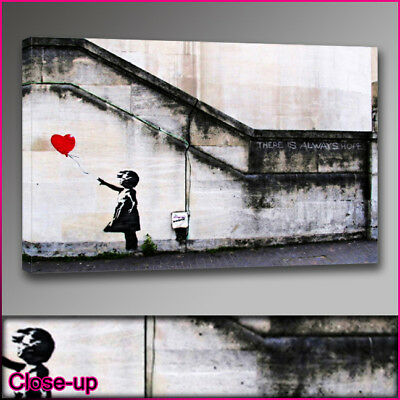 "Banksy balloon girl hope red canvas print A1 24""x36"""