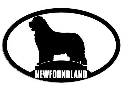 3x5 inch Oval NEWFOUNDLAND Dog Silhouette Sticker - breed pet animal canada love