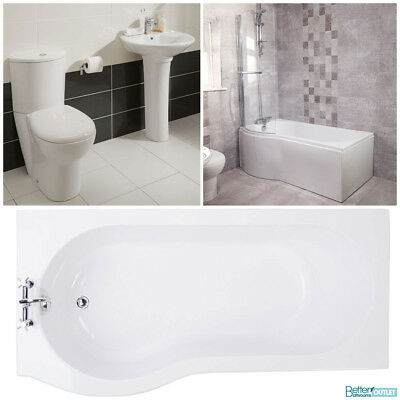 P Shaped Shower Bath With Screen Full Bathroom Suite 1700 Toilet Basin Sink WC