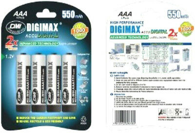 4 x Digimax AAA Rechargeable Batteries 550 mAh phone 550mAh NiMh 1 x 4 pack