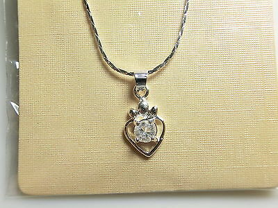 18k White Gold Plated Heart Pendant With Chain Clear CZ set in the middle