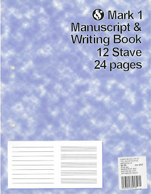 Mark 1 Manuscript & Writing Book 12 Stave 24 pages *NEW* music, notation, paper