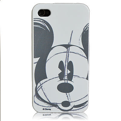 For iPhone 4 / 4S Disney Mickey Mouse Gray Sketch Snap On Fitted Case Cover