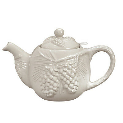 Andrea by Sadek-Cabin Decor Ceramic Pine Cone Embossed Teapot with Strainer-NEW