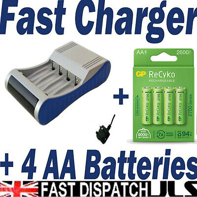 FAST BATTERY CHARGER Supplied with 4 Uniross AA 2600 Series Rapid NiMH NiCD mah