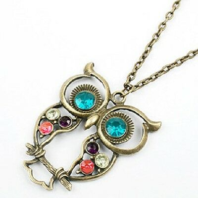 New Vintage Colorful Cute Owl Carved Hollow Chain Necklace LKX0024