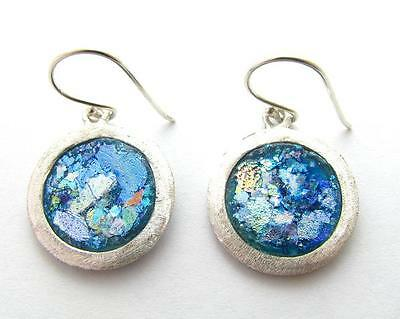 Amazing Ancient   Roman Glass 925 Silver Earrings