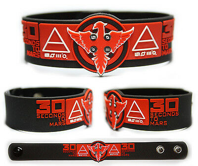 30 SECONDS TO MARS Rubber Bracelet Wristband  Thirty Seconds To Mars  Black/Red