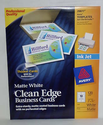 AVERY #28877 Clean Edge Matte White Ink Jet White Business Cards 120 Brand New!