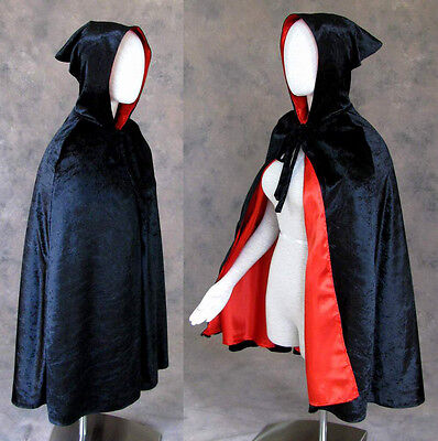 Child's Black Lined Red Cloak Cape Artemisia Designs Princess Costume S-M