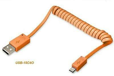 4.5 ft. USB 2.0 Type-A Male to Micro-B 5-pin Male Coiled Cable,  Orange Color