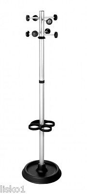 Pibbs 888 Coat Rack With Umbrella Stand Silver & Black Weighted Base