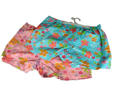 2 x Girls Printed Cotton Boxer Pyjama Sleep Shorts Sleepwear Brand new