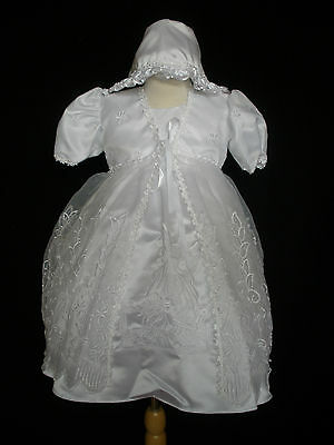 New Infant Girl & Toddler Christening Baptism Formal Dress size:0M-30M White