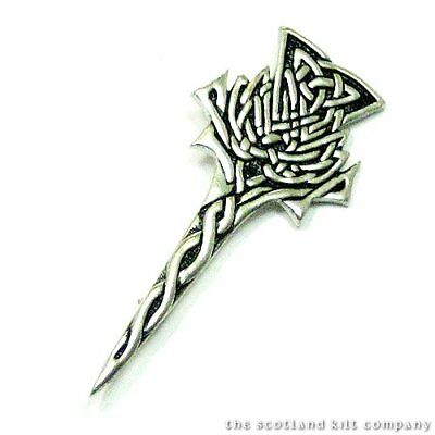 New Scottish Highland Modern Highland Thistle Kilt Pin Chrome Finish Uk Made