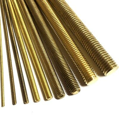 100mm Long Brass Threaded Bar Rod Studding - M2 M2.5 M3 M4 M5 M6 M8 M10 M12