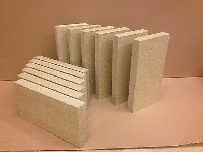 """4 x Vermiculite stove fire bricks compatible with Villager Stoves 4.5"""" x 9"""" x 1"""""""