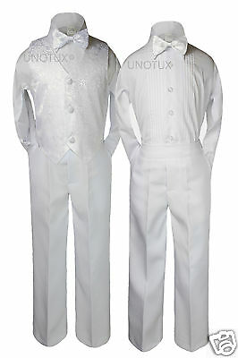 4pc Baby Boys Toddler Baptism Formal Wedding Party Vest Set Bow Tie Suits S-20